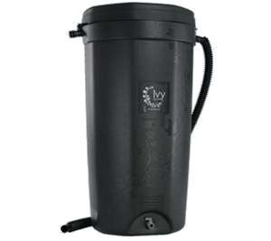 black rain barrel