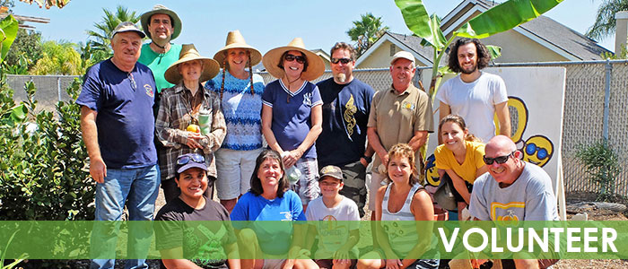 Solana Center volunteers outside in garden
